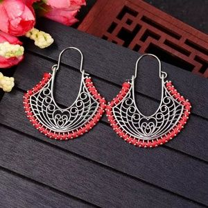 red silver color Classic Caving Hollow Ethnic Earr